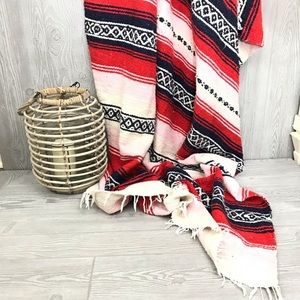 Mexican inspired woven throw blanket